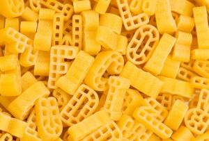 Close up of italian pasta - alphabet shaped